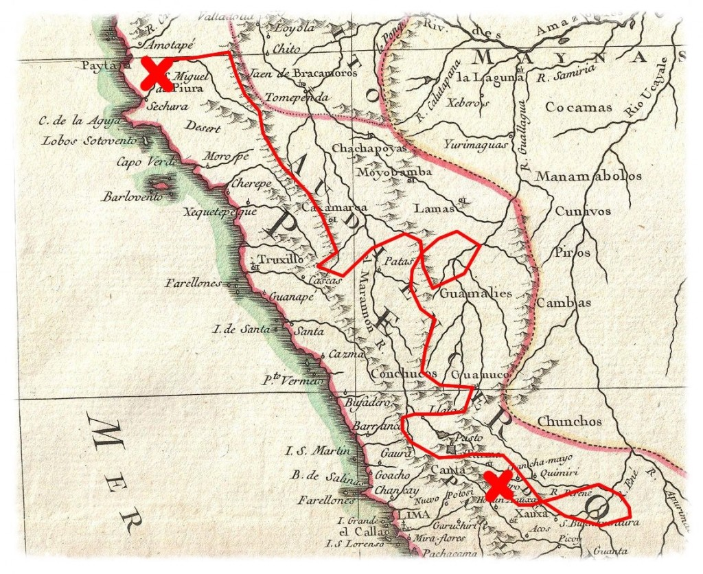 I believe this is the map of Peru used by the Conquistatdors 500 years ago.  Should be accurate enough for my purposes.